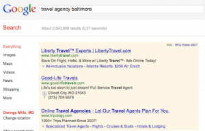 travel-agency-baltimore-search-advertising