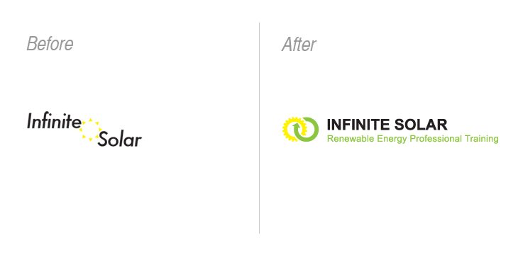 solar company logo before and after